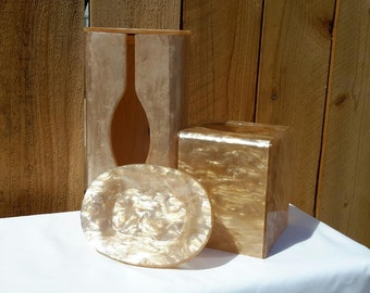 Wilardy Lucite 5 Piece Set, Two Tissue Boxes, Soap Dish,  Trash Bin, And A Powder Puff Box.