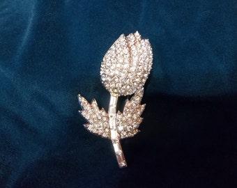 Vintage Czech Rhinestone Tulip Brooch - Czech Brooch - Vintage Czech Pin - Shiny Flower Brooch