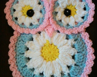Crochet Daisy Owl potholder pattern only