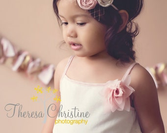 Pink and gold vintage inspired rosete headband and sash. Photo prop. Newborn prop.