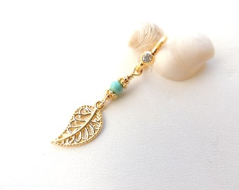 Gold Filigree Leaf and Turquoise Captive Navel Ring, Charm Navel Ring, Belly Button Jewelry, Body Jewelry, Gift Idea, Dangle Belly Ring. 471
