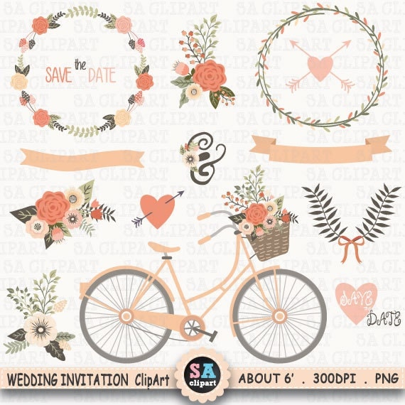 Mariage Invitation Clipart Mariage CLIP ART vélo Floral