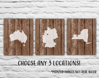 Gift for Best Friends, Three States Personalized Gift for Military Family Travels Where We've Lived, Germany Australia New York Wood Print
