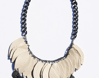 Bone white leather leaf necklace