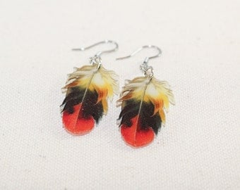 Red, dark blue and yellow vintage feather earrings