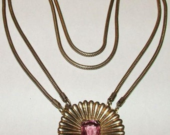 p7311: Vintage Quality Signed CALVAIRE STERLING Necklace Rhinestone
