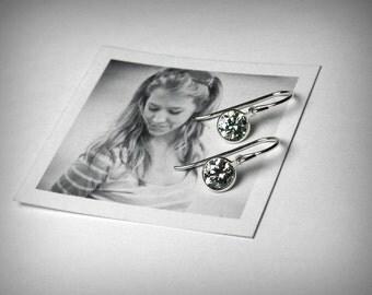Imitation Diamond Earrings, CZ Dangle Earrings, Simulated Diamond, Silver Drop Cubic Zirconia Earrings, Sterling Silver, Swarovski Earrings