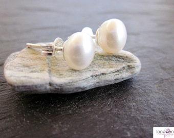 Pearl Stud Earrings Pearl Earring June Birthstone  8-9mm Pearl Earrings  White Freshwater Pearl Button Earrings Pearl Earrings
