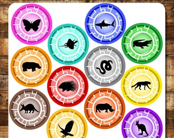 "12 Set Animal Adventure Discs Inspired, 4"" PRINTABLE Downloadable"