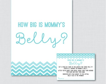How Big Is Mommy's Belly Game in Aqua Blue Chevron - Printable Baby Shower Belly Guessing Game, Guess Belly Size in Aqua Blue - 0017-A