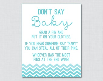 Don't Say Baby Baby Shower Game in Aqua Ombre Chevron - Printable Diaper Pin Clothes Pin Game, Aqua Blue Chevron Baby Shower - 0017-A