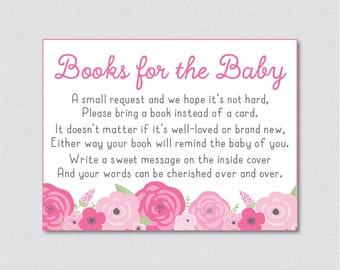Pink Baby Shower Bring A Book Instead Of A Card Invitation Inserts    Instant Download