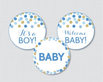 Blue and Gold Baby Shower Cupcake Toppers Printable - It's a Boy AND Girl - Instant Printable Download - Blue Gold Cupcake - 0008-B