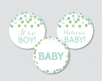 Mint and Gold Baby Shower Cupcake Toppers Printable - It's a Boy AND Girl - Instant Printable Download - Mint Gold Cupcake - 0008-M