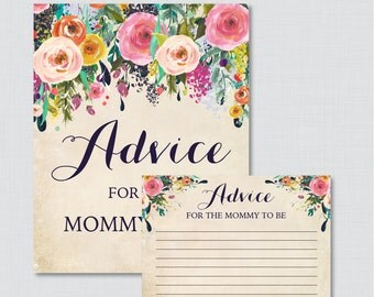 Floral Advice for Mommy to Be Cards and Sign - Printable Flower Baby Shower Advice for Mom, Advice for Parents to Be - Shabby Chic 0025-A
