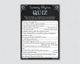 Blue Chalkboard Nursery Rhyme Quiz Baby Shower Game - Printable Instant Download -  Chalkboard Baby Shower Game with Blue Accents - 0026-B