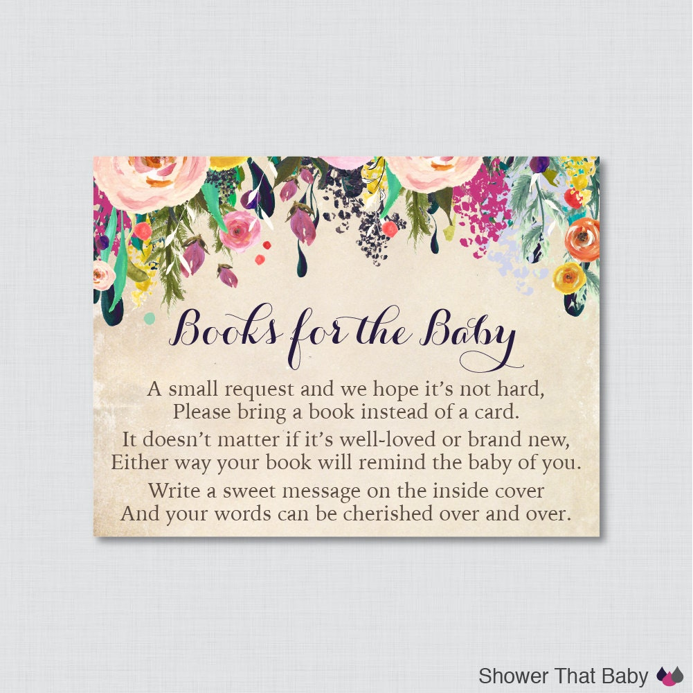 Floral Baby Shower Printable Bring A Book Instead Of A Card