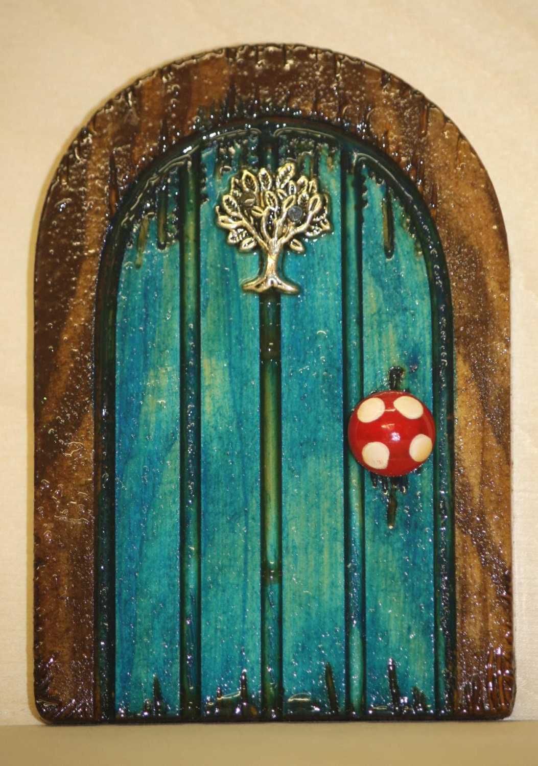 Handmade far away tree turquoise wooden fairy door by for Wooden fairy doors