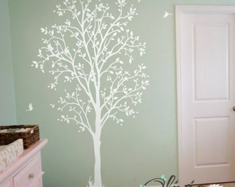 White Baby nursery Spring Tree vinyl wall decal - NT011