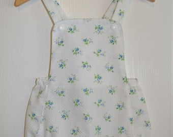 Baby Romper Baby Girls Romper Vintage Style, Floral Cotton Plisse, Size 12 Months,Ready To Ship