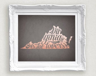 Virginia is For Lovers Coral Ombre Printable Virginia Home State Art Print 8 x 10