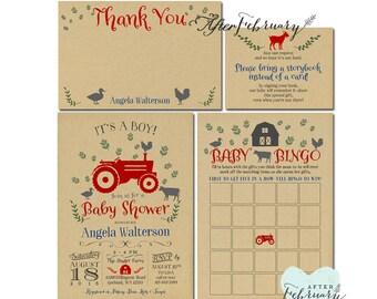 SALE! 4-Piece-Suite Tractor  Baby Shower Invitation // Farm Baby Shower Invite // Kraft Background // Printable No.784