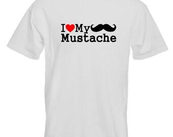 I Love My Mustache T-Shirt Joke Funny Tshirt Tee Shirt Tash Tache Moustache