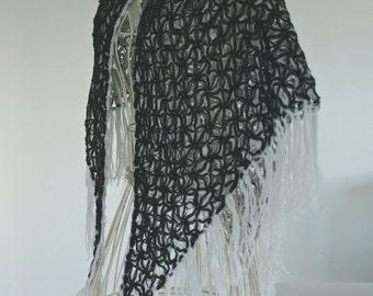Shawl  Crochet Shawl black and white wool fringed. knit Handmade