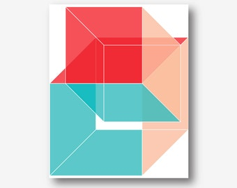geometric pritable red coral and turquoise wall art instant download, large abstract art pdf jpg geometric poster cube prism digital print