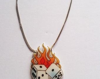 Flaming Dice Las Vegas Casino Tattoo Necklace