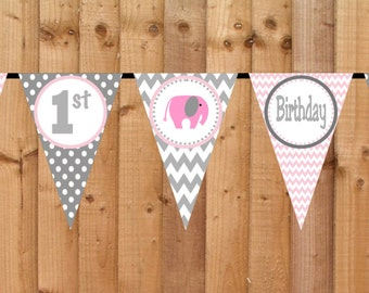 Chevron Elephant Birthday Banner - Printable Personalized Birthday Party Decorations Pink