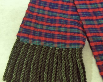 Blue, Red and Green Plaid Cotton Sash w/Green Fringe for Pirate, Ren Faire, Cosplay