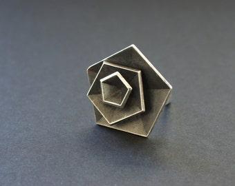 Blackened sterling silver vertigo ring