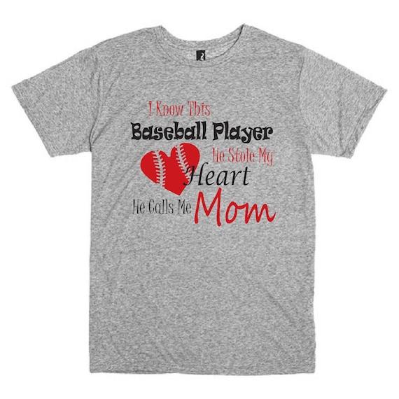 Funny Baseball Mom Shirt He Stole My Heart He By