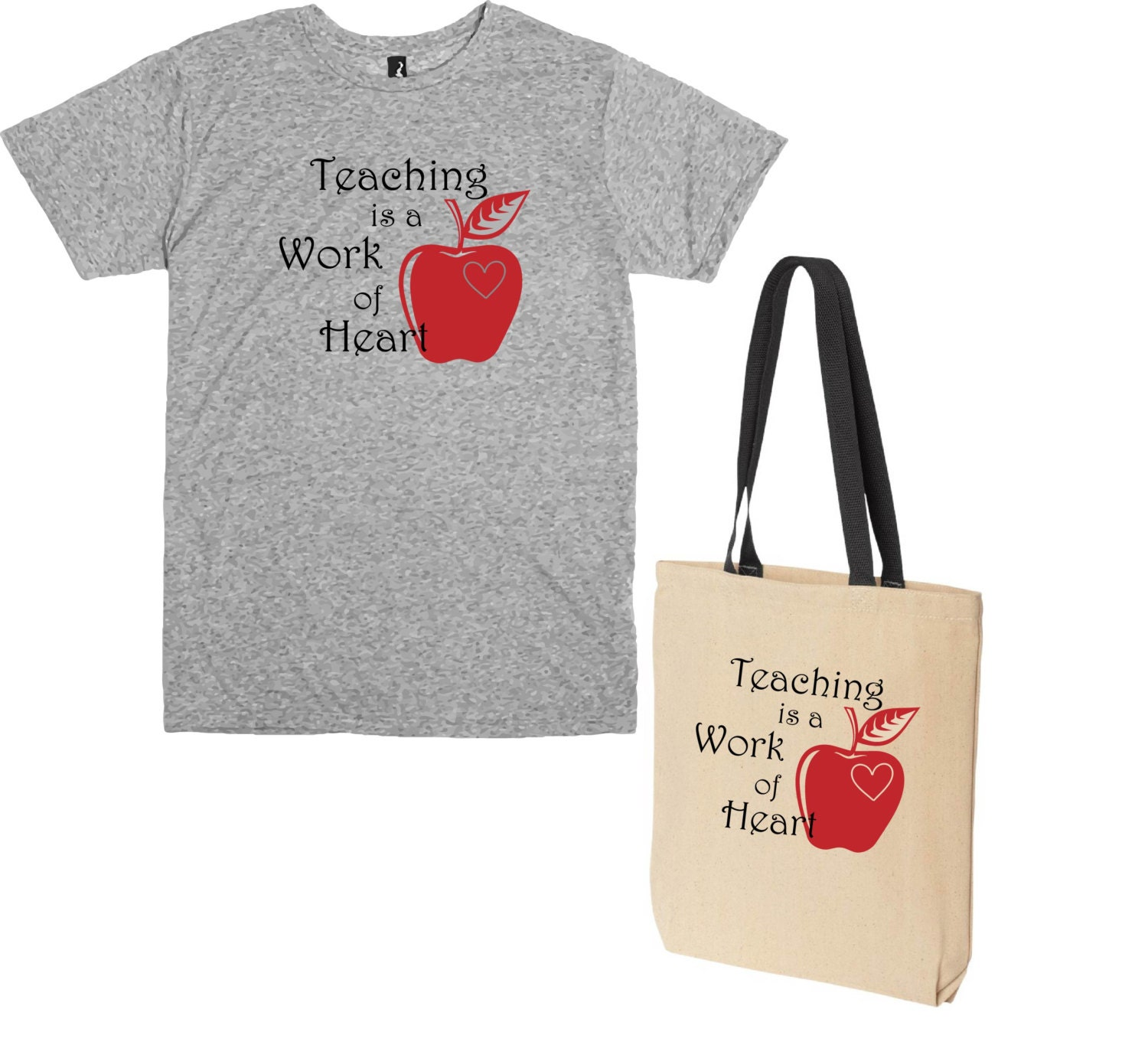 Teacher gift t shirt and tote bag teaching is a work of for T shirt tote bag