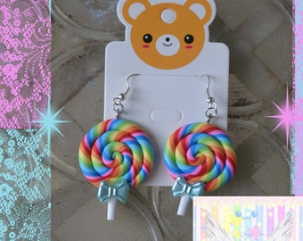 Lollipop Candy Cute Bow Lolita Earrings