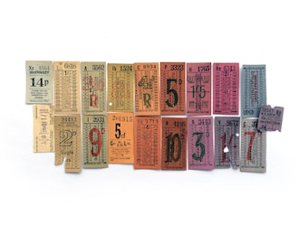 Small Rainbow Vintage Ticket set with 19 tickets. Vintage British transport tickets.