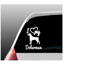 I Love My Doberman/Dobermans Car Window Decal