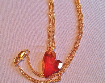 NECKLACE, VALANTINES, WEDDINGS, Brides, Swarovski Red Magna Crystal Heart, Rose Gold 14Kt Gold filled chain, lobster claw clasp