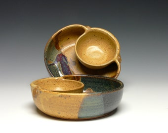 Pair of Personal Chip Dips, Stoneware Chip Dip, Pottery Chip and Dip, Canapé Dish