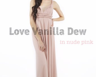 Bridesmaid Dress Infinity Dress Nude Pink Floor Length Maxi Wrap Convertible Dress Wedding Dress