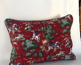Burgundy and Blue Equestrian/Hunt Scene Pillow Cover