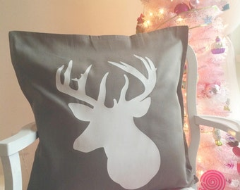 Grey pillow cover with white stag head