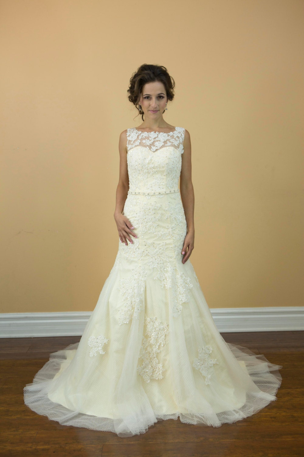 Champagne Boat Neck Lace With Crystal Belt Wedding Dress