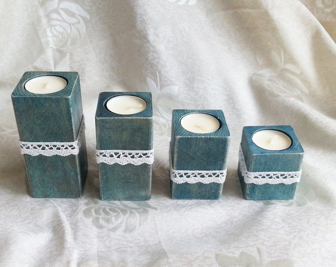 Wooden candle holders centerpieces rustic style cotton lace custom colors vintage home decor wedding brown blue teal