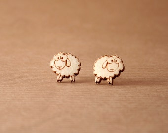 Laser cut wooden earrings - Sheep earrings