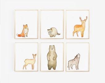 Woodland Nursery, Animal prints for nursery, Boho nursery,  Animal Prints, Nursery Animal Art, Woodland baby room, Set of 6,  (1610-6)