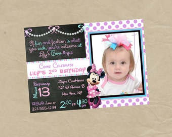 Minnie Mouse BOW-TIQUE Photo Birthday Party Invitation