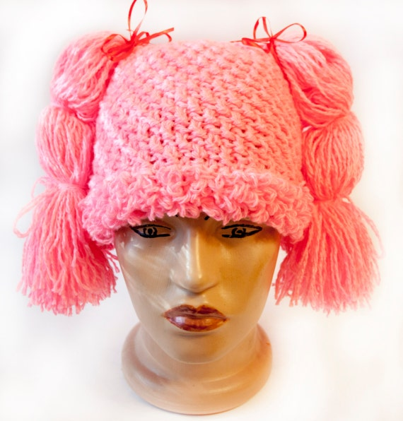 Crochet Wig Cap : Items similar to Crochet wig for a child and adult, pink cap, Cabbage ...