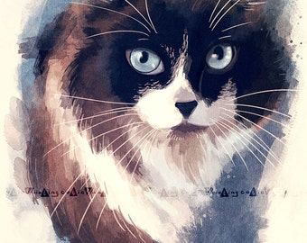 "Watercolor Custom cat portrait - A4 8x11"" painting"